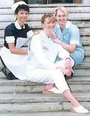 Nurses from the Royal Marsden Hospital in 1998, modelling uniforms past, present and future.